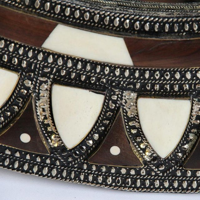 Beautiful intricate round inlay mirror. Natural wood bone metal and brass work details. Each slightly unique in tones and...