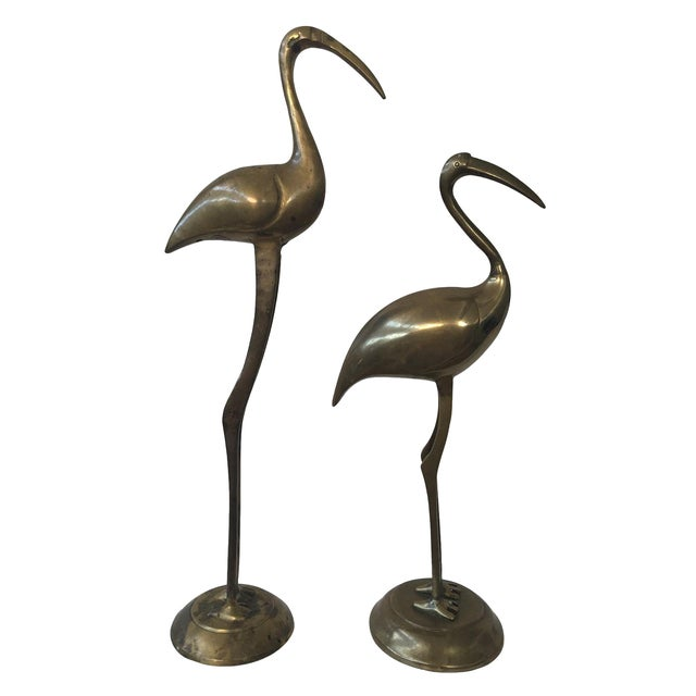 Mid-Century Brass Cranes - A Pair - Image 1 of 5