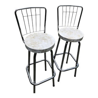 Mid Century Chrome Bar Stools- a Pair For Sale