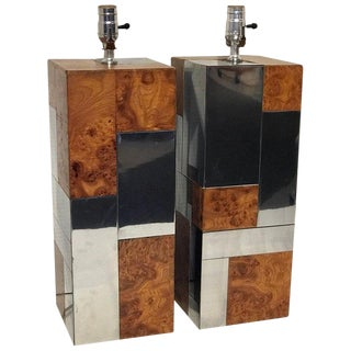 Pair of Paul Evans Cityscape Table Lamps, Pe 400 Series For Sale