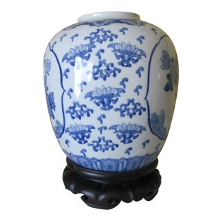 Blue and White Flowers and Bird Motif Porcelain Ginger Jar Lamp Base For Sale