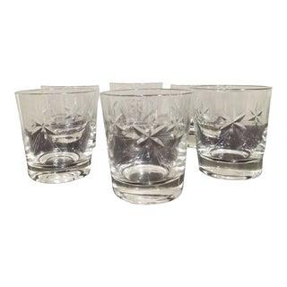 Vintage Etched Shining Star Crystal Glasses - Set of 6 For Sale