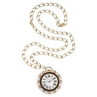 Jeweled Faux Watch Pendant Necklace For Sale