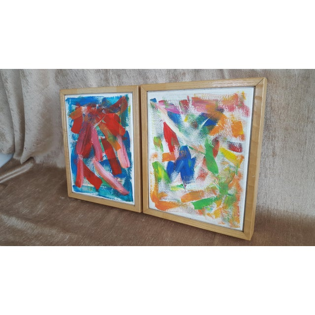 A Pair- Original Abstract Acrylic Paintings in Cubed Wooden Frames For Sale - Image 4 of 13