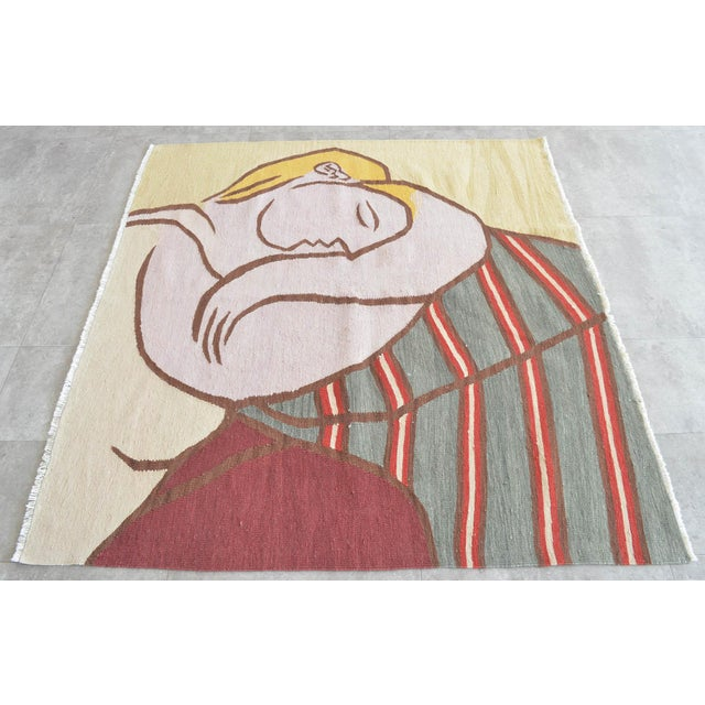 Picasso - Woman With Yellow Hair Inspired Hand Woven Area Rug Wall Rug Kilim - 4′6″ × 5′ For Sale - Image 9 of 11