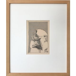 Mid Century Modernist Mixed Media Drawing of a Monkey by Howard Warshaw 1963 For Sale
