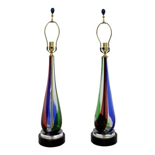 Mid-Century Modern Murano Glass Table Lamps Italian Red Blue Green 1960s - A Pair For Sale