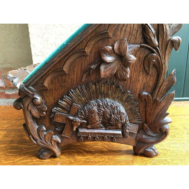 Late 19th Century Late 19th Century Antique English Carved Oak Altar Stand For Sale - Image 5 of 11