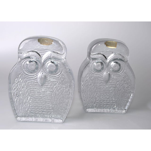 Vintage BLENKO Thick Glass Owl Bookends - Image 3 of 8