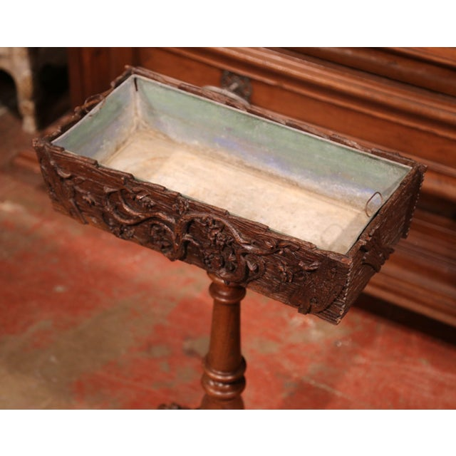 Late 19th Century 19th Century French Carved Walnut Black Forest Pedestal Jardiniere With Liner For Sale - Image 5 of 11