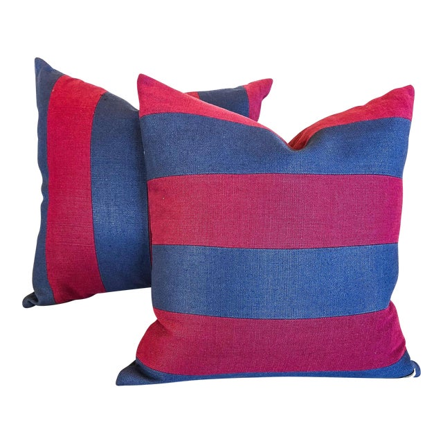 Pink and Blue Striped Linen Pillows - a Pair For Sale