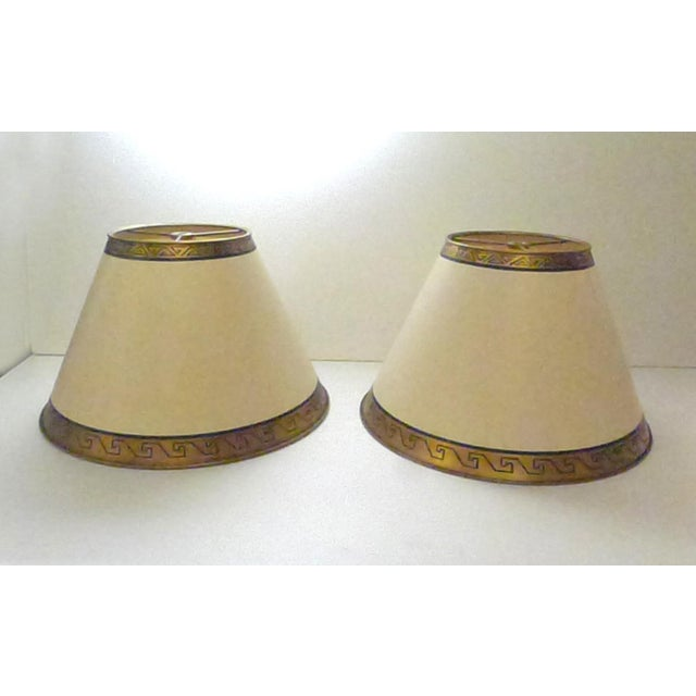 French Custom Lamp Shades With Gold Greek Keys - a Pair For Sale - Image 3 of 3