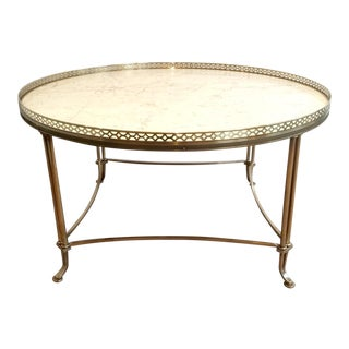 Mid Century Brass Cocktail Table With White Marble Top For Sale