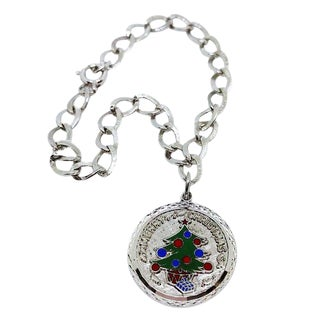 Sterling Silver Charm Bracelet With Christmas Tree Charm For Sale