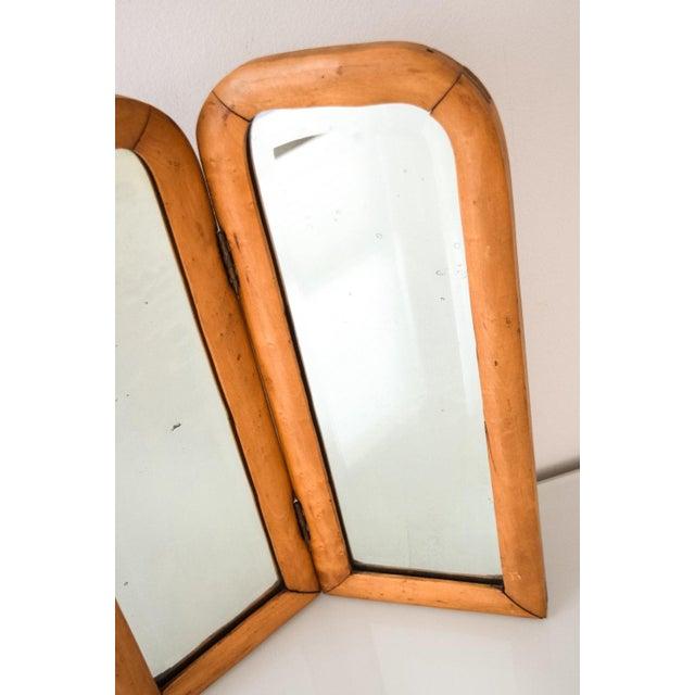 Vintage Antique Wood Bi Fold Beveled Table Top Mirror For Image 4 Of