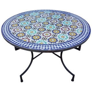 "Moroccan 48"" Multi-Color Beldia Mosaic Dining Table For Sale"