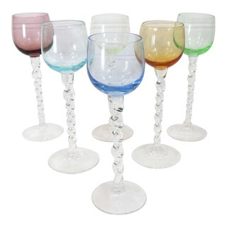 Vintage Twist Stem Cordials, Set of 6 For Sale