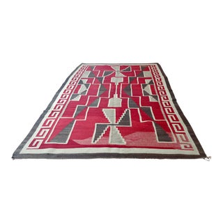 Navajo 1920s Chinle Rug With Beautiful Red Geometric Figures For Sale