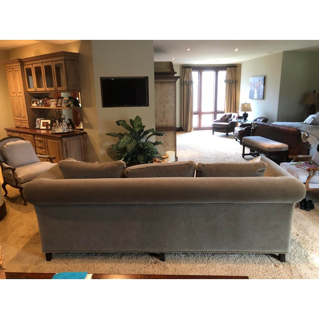 3 Seat Custom Natural Mohair Sofa For Sale - Image 4 of 11