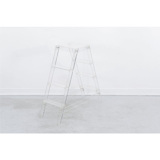 "decorative ladder lucite 36"" h x 40 ¼"" w x 12"" d perfect as a plant stand or book display, not intended for actual use as..."