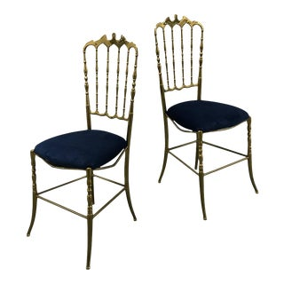 1950s Solid Brass Chiavari Chairs, Italy — a Pair For Sale