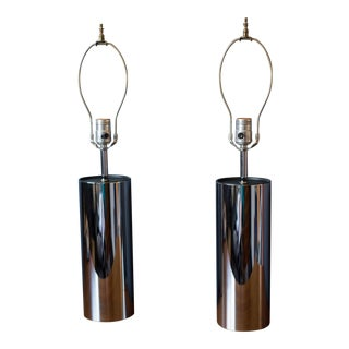 Vintage George Kovacs Tall Chrome Cylinder Lamps - a Pair For Sale