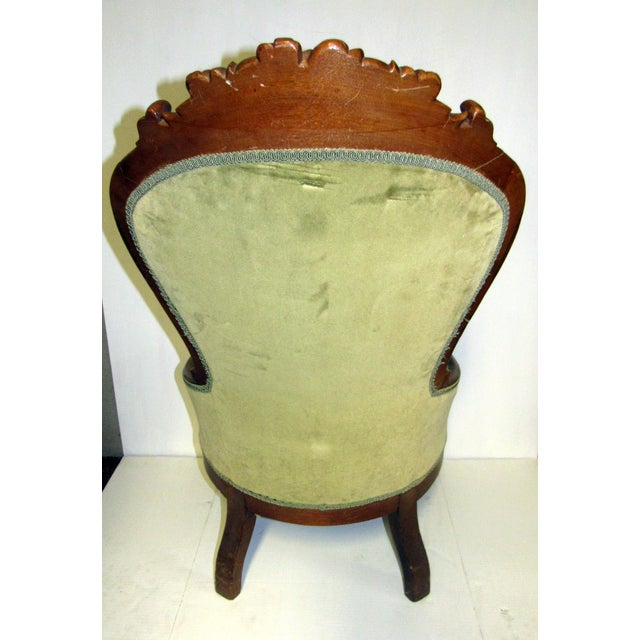 Victorian Chair With Green Velvet Upholstery For Sale - Image 9 of 11