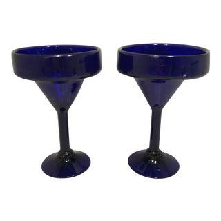 1970s Vintage Mexican Cobalt Blue Hand Blown Margarita Glasses- A Pair For Sale