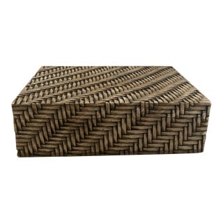 Carved Wicker Stone Lidded Box For Sale