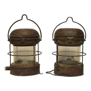 Antique Nippon Sento Co. Ltd. Copper & Brass Ship Lights - a Pair For Sale
