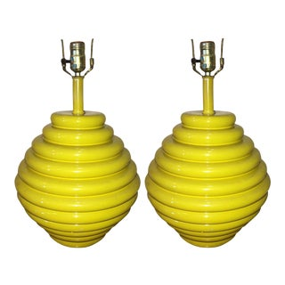 Mid-Century Modern Yellow Beehive Shaped Ceramic Lamps - a Pair
