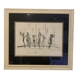 Image of Mid-Century Modern Jean Harding Brown Ink Print Orpheus Fountain at Cranbrook Print Framed For Sale