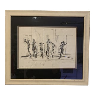 Mid-Century Modern Jean Harding Brown Ink Print Orpheus Fountain at Cranbrook Print Framed For Sale