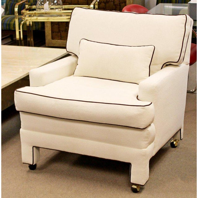 Mid-Century Modern Mid-Century Modern Large White with Brown Trim Lounge Armchair For Sale - Image 3 of 8