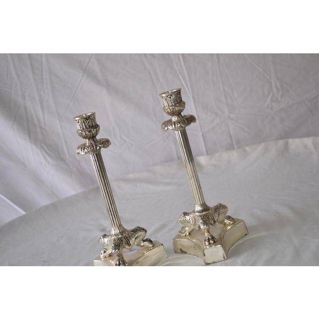 1980s American Classical Silver Fluted Candlesticks With Claw Feet - a Pair For Sale - Image 4 of 6