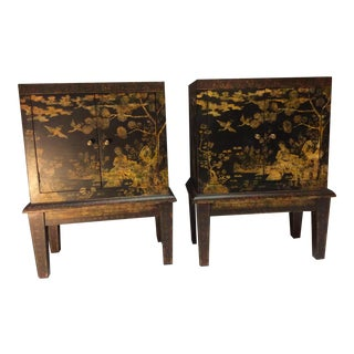 Chinese Chinoiserie Painted Cabinets / Commodes - a Pair