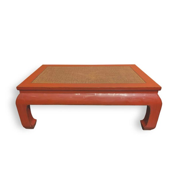 Asian Style Ming Style Rattan Insert Coffee Table For Sale - Image 4 of 4