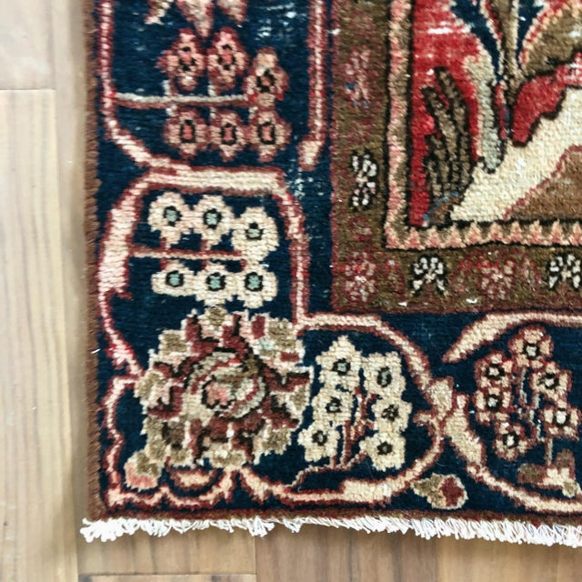 Ruby Red Middle Eastern 1930s Hand Knotted Wool Rug For Sale - Image 8 of 10