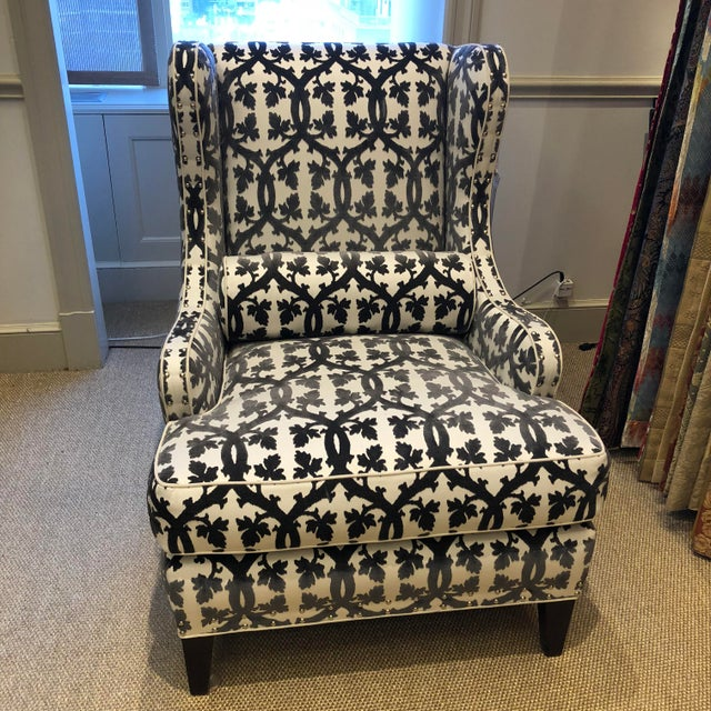 Black Traditional Black and White Textile Wingback Chair For Sale - Image 8 of 8