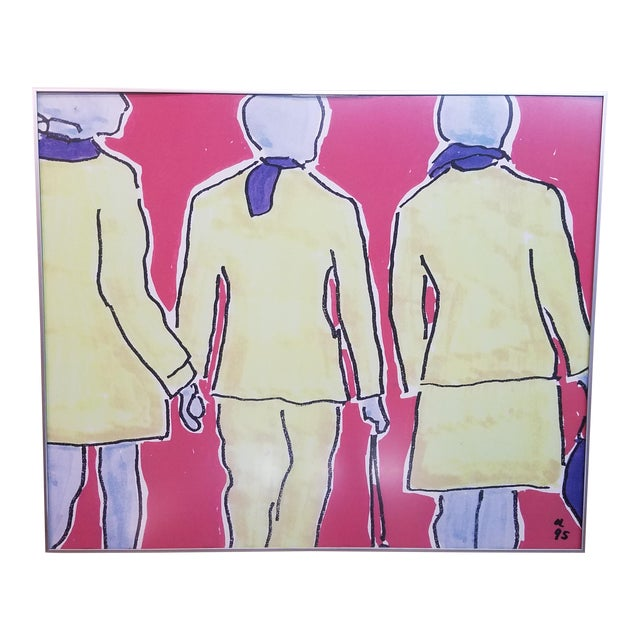 Red & Yellow 'Girls' Print For Sale