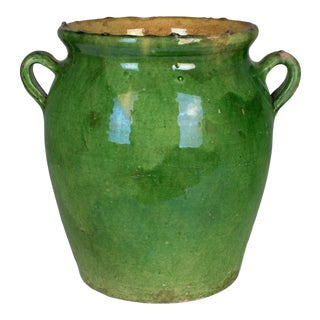 1900s French Green Glazed Terracotta Pot For Sale