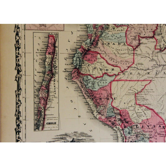 Paper Vintage South America Map For Sale - Image 7 of 10