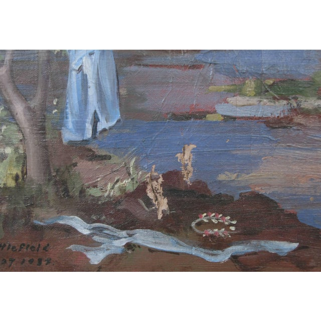 """Canvas 1934 """"Neptune at Shore"""" Oil on Canvas Painting by William Littlefield For Sale - Image 7 of 9"""