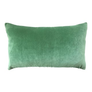 FirmaMenta Italian Solid Green Velvet Lumbar Pillow For Sale