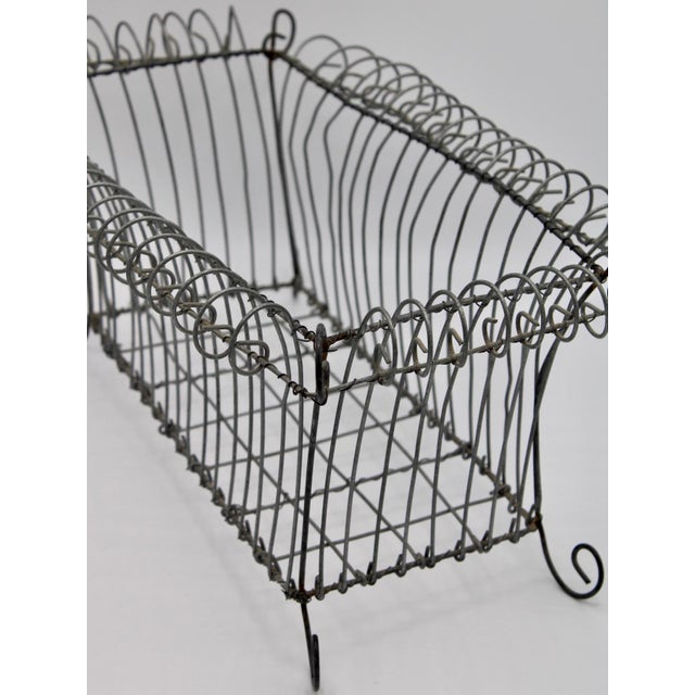 French Antique French Jardiniere Footed Wire Basket For Sale - Image 3 of 7