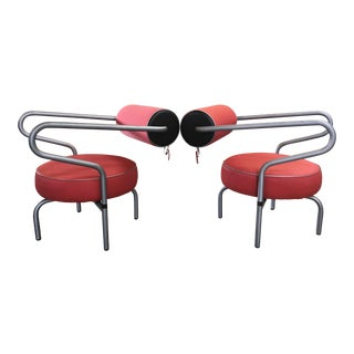 Post Modern Red Danish Armchairs - A Pair