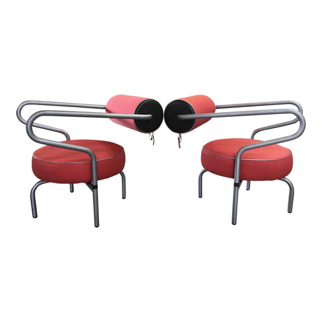 Post Modern Red Danish Armchairs - A Pair For Sale