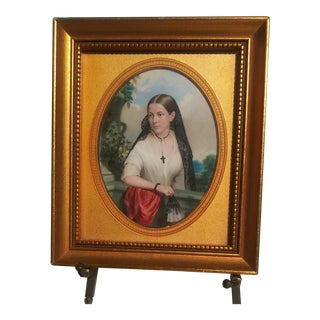 """A Spanish Maiden"" 1855 Watercolor on Ivory by John Henry Brown For Sale"