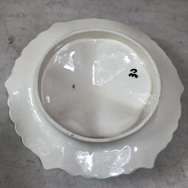 Late 19th Century Majolica Handled Oyster Plate Orchies, Circa 1890 For Sale - Image 5 of 9