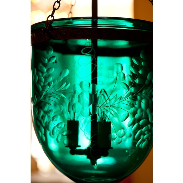 Green Foilate-Etched Ten-Inch Green Bell Jar Lantern, England Circa 1830 For Sale - Image 8 of 13